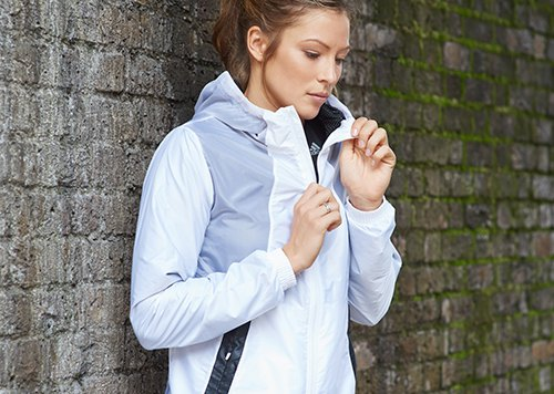 white and grey color black running jacket with black tights