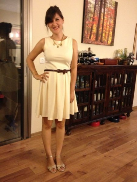 white belted fit and flare mini dress with pale pink kitten heel sandals