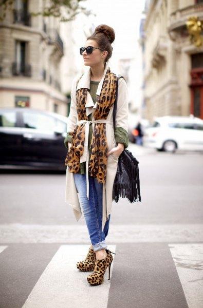 white belted longline blazer with leopard print bootie heels