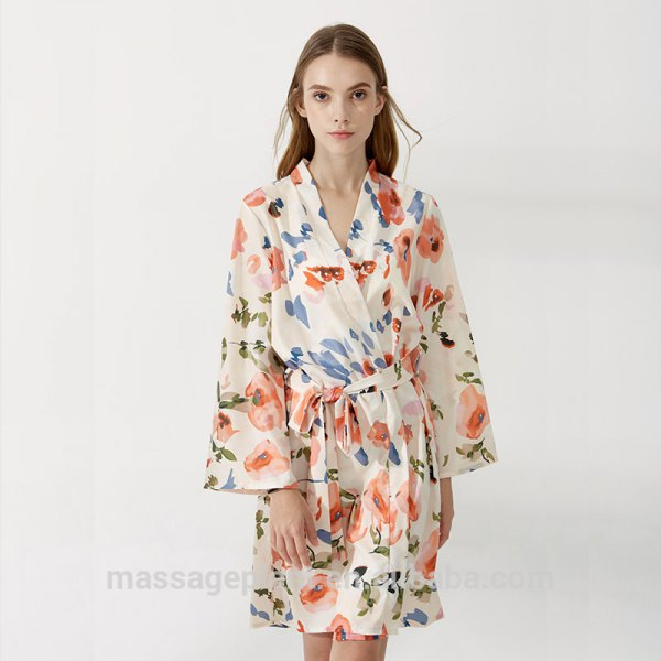 white blue and red floral robe