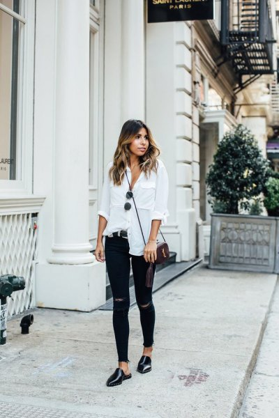 white button up linen shirt with ripped skinny jeans and black leather shoes