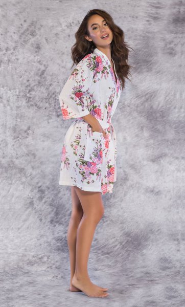 white floral printed fit and flare mini robe