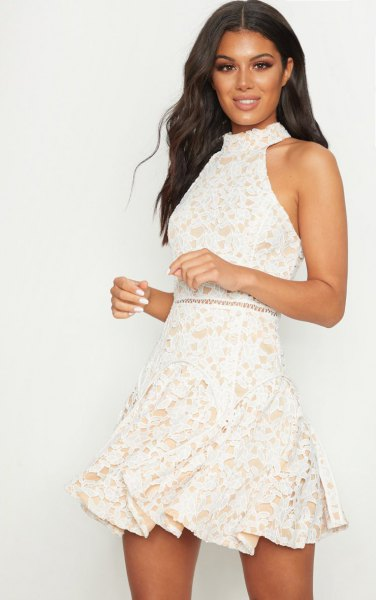 white lace halter high neck fit and flare mini dress