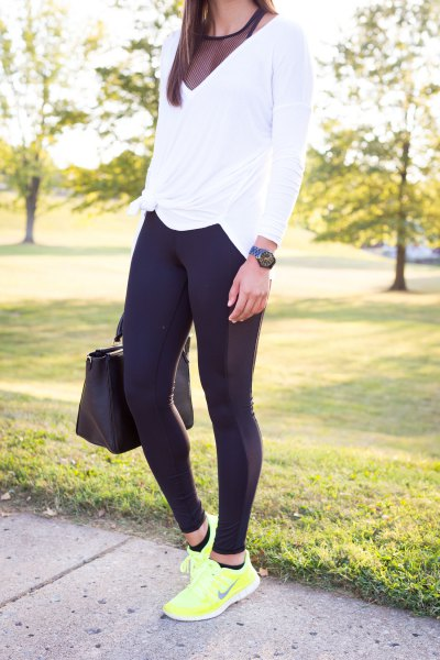 white long sleeve v neck t shirt with black semi sheer tank top