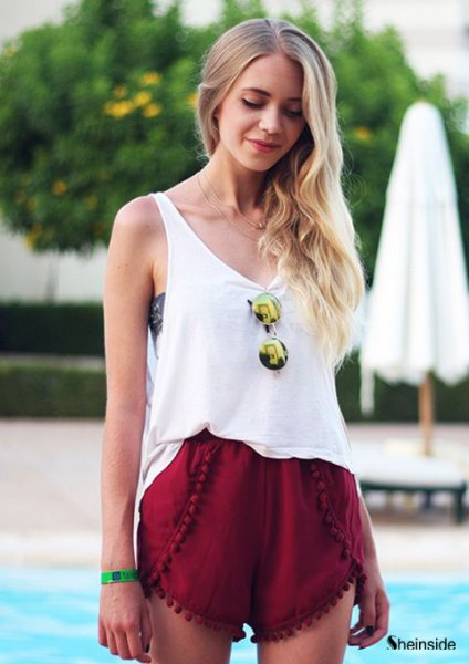 white scoop neck tank top with red mini shorts