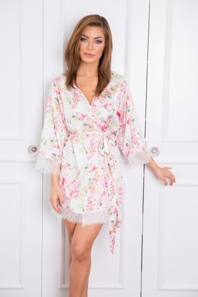 white wide sleeve silk and lace mini floral robe