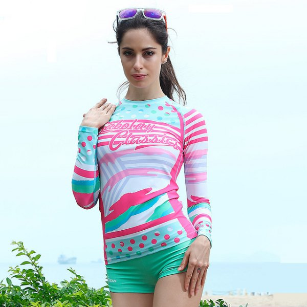 yellow and white printed long sleeve waterproof tee with blush swim shorts