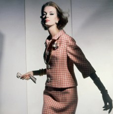 Model in Pink Checked Wool Suit