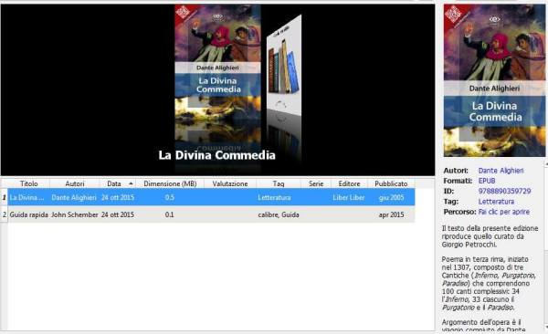 Calibre - aggiungi libri e navigatore copertine