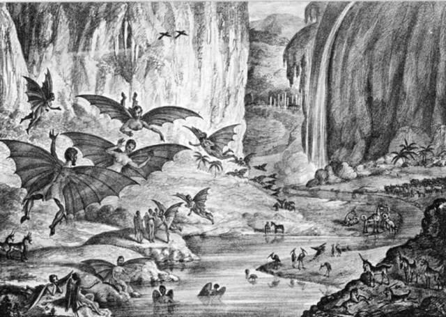 Litografia della grande bufala della Luna (Great Moon Hoax) - The Sun, 28 agosto 1835