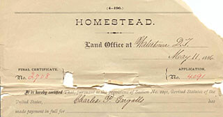 Portion of Charles Ingalls's final certificate for his homestead. (Records of the Bureau of Land Management, RG 49)