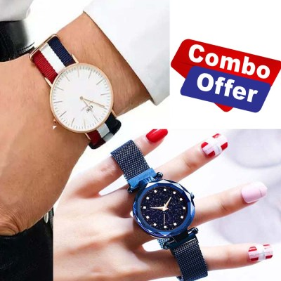 Combo Offer Analog Watch For Men and Ladies Magnetic Watch