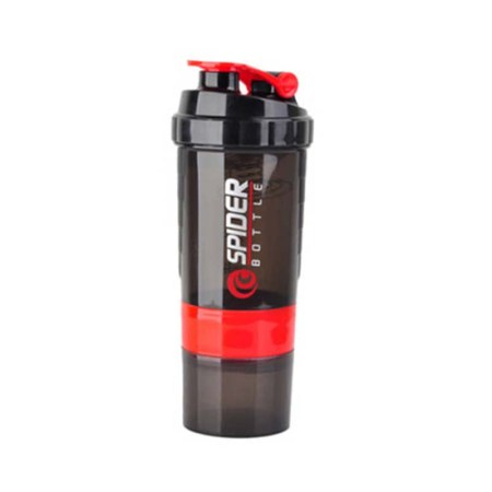 Protein Shaker & Gym Bottle 3 in 1 Stylish Package- RED