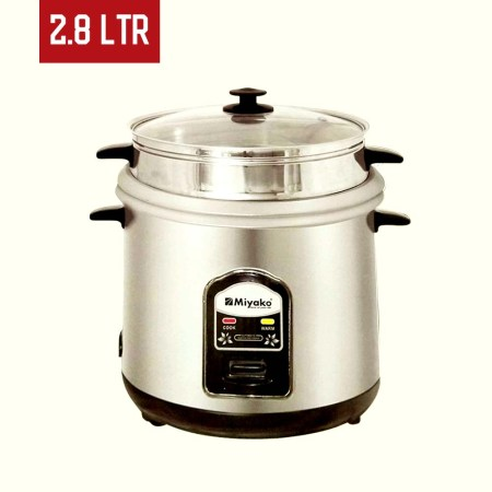 Miyako 2.8 Liter Automatic Rice Cooker Double Pot with Glass Lid  (ASL-28-YLD)