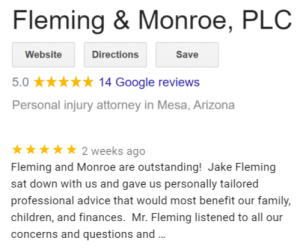 Read the Google reviews for attorneys Fleming & Monroe