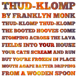 Text of the poem Thud-klomp by Franklyn Monk
