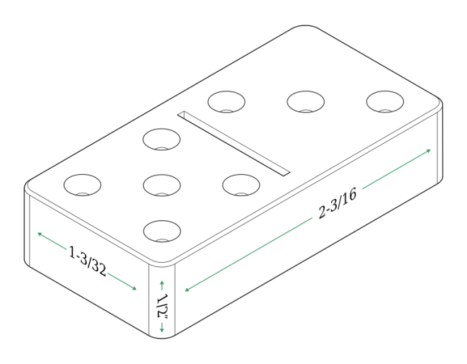 Isometric diagram of a tournament domino.