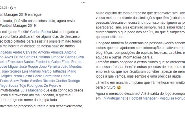 Post de agradecimento de Bruno Gens Luís à sua equipa