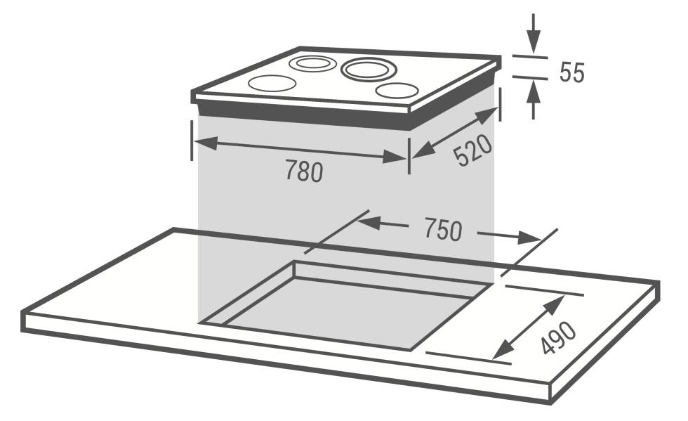 Fagor 2VFT-75S 四口感電陶爐安裝尺寸圖