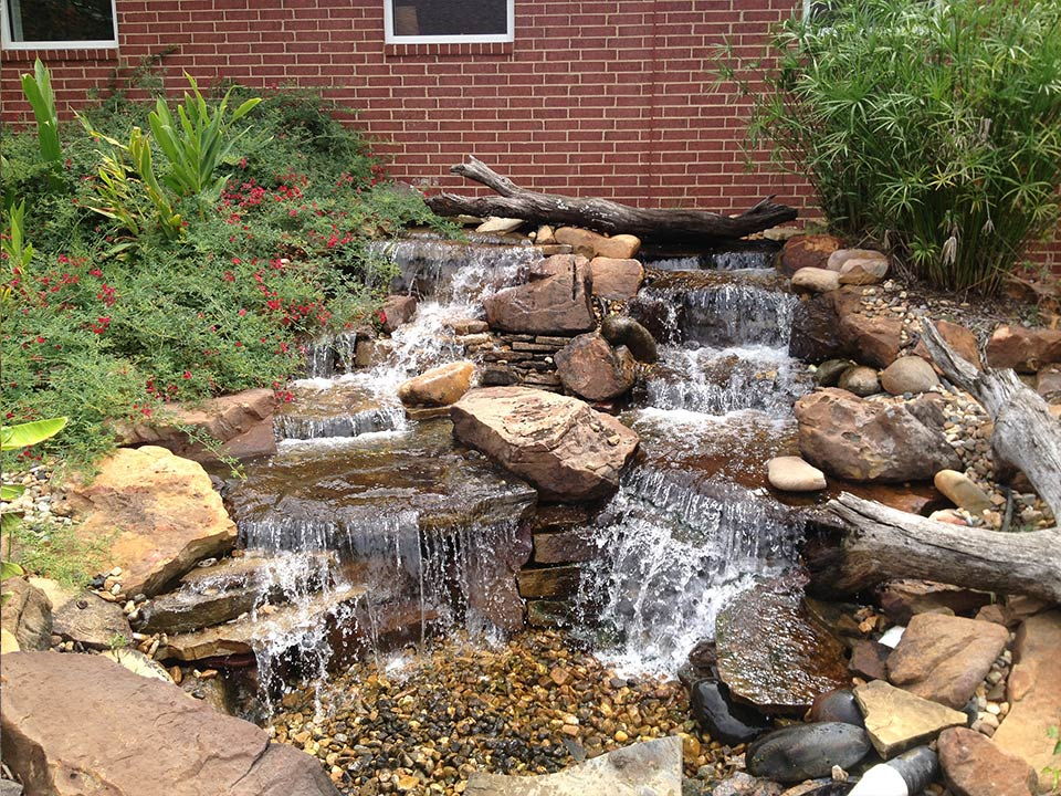 Landscape Pond & Waterfall Ideas For your Backyard   Plano ... on Backyard Stream Ideas id=74335