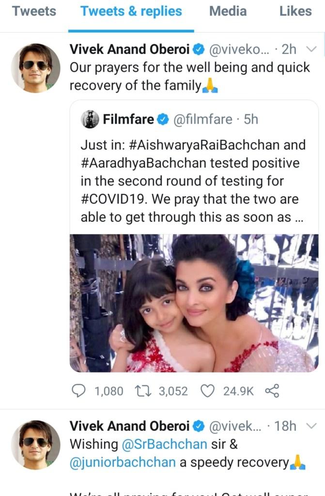 vivek oberoi tweet for aishwarya rai recovery