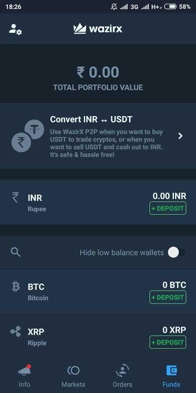 Wazir x less Portfolio value Total balance