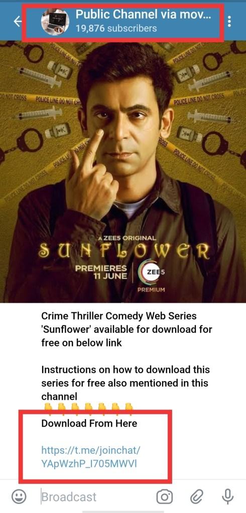 sunflower telegram link download free 480p, 720pp 1080p