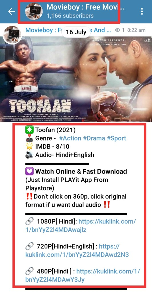 toofan movie telegram channel link to download for free in 480p, 720 and 1080p