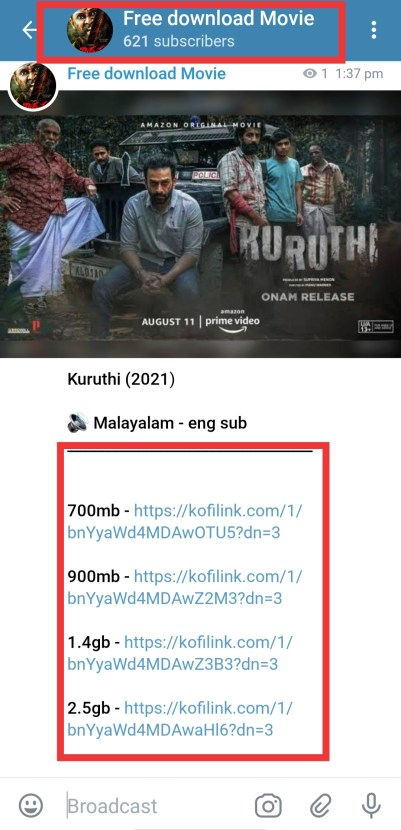 kuruthi malyalam movie telegram channel link for free download in 480p, 720p and 1080p