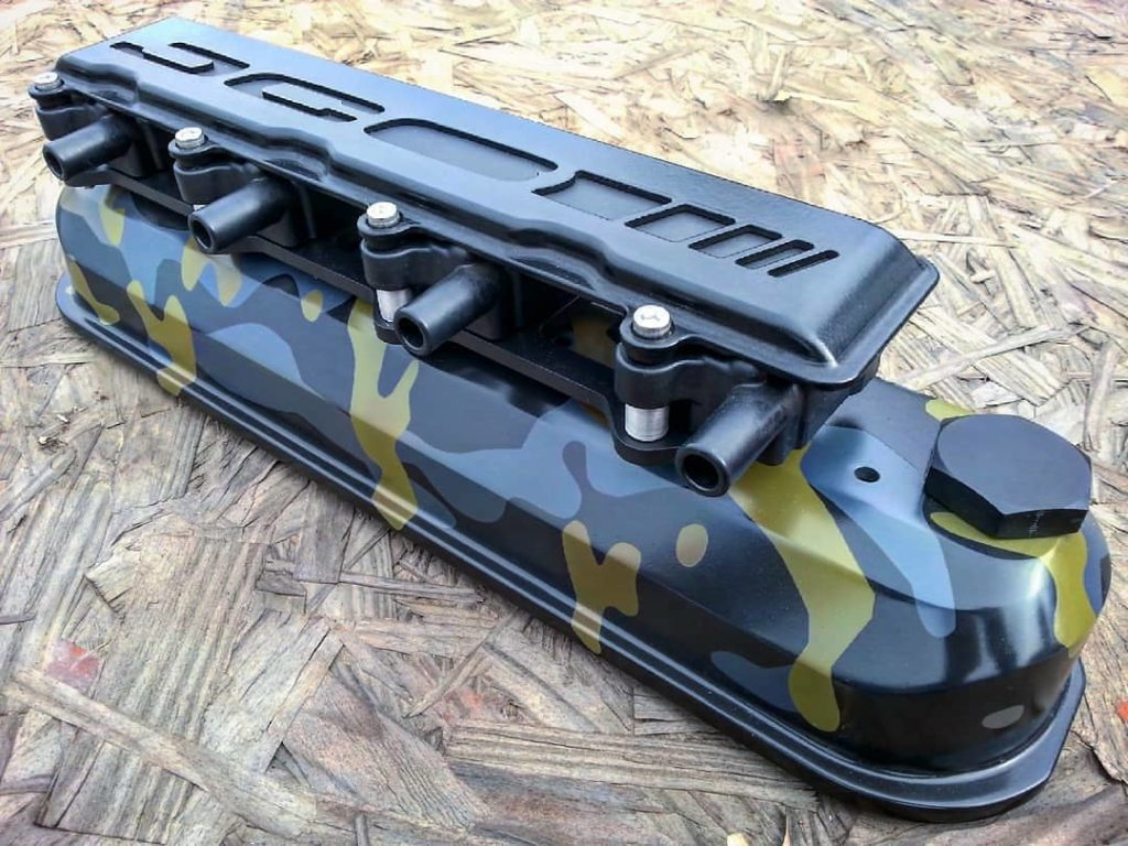 Valve Cover with customer designed multi color urban camo, performed by FNG's Engine Components Coating Services