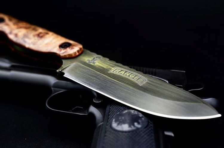 Cerakote coated blades, knives & swords with custom finishes including battleworn and multicam from FNG Precision Coatings.