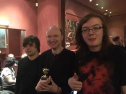 Manchester 2017: Champion Stephen with organisers Jack and Matty.