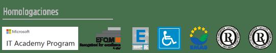 Logos de homologaciones de IT Microsoft Academy Program, EFQM 400 plus, accesibilidad, EMAS, ISO 9001, ISO 9014