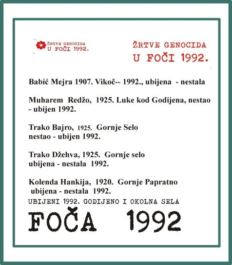Foča 1992. - 1995. - žrtve genocida