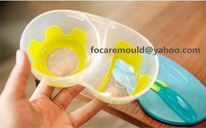 two color mold infant sectioned bowl set