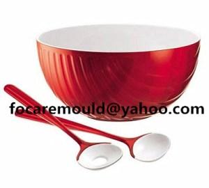 China 2K salad bowl set bicolor salad spoon mold