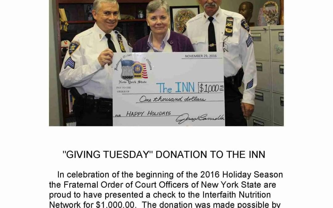 """GivingTuesday"" Donation to The Inn"
