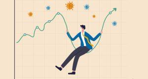 Coronavirus crash stock market plunged, high volatility asset price swing in Coronavirus outbreak crisis concept, businessman with sanitary mask sit on stock market graph as swing, COVID-19 pathogen