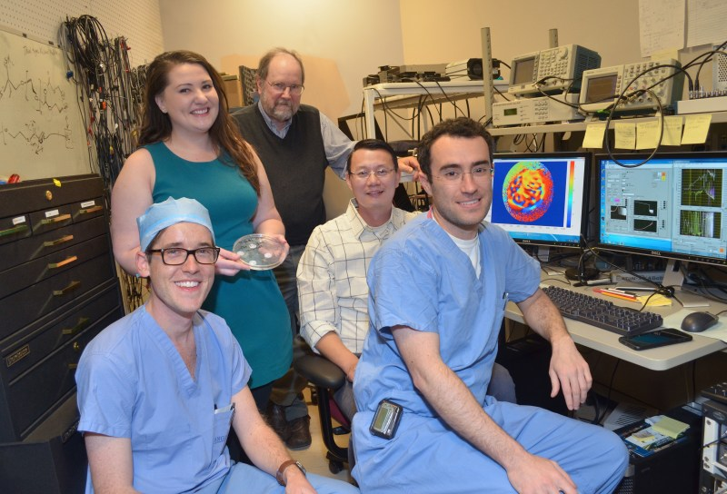 Research team from left to right: Dr. Aaron Remenschneider, Nicole Black, Dr. John Rosowski, Dr. Jeffrey Tao Cheng and Dr. Elliott Kozin