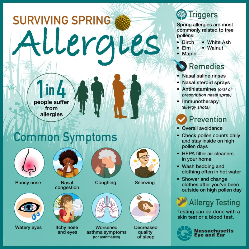 Surviving spring allergies: 1 in 4 people suffer from allergies, and common symptoms include runny nose, nasal congestion, coughing, sneezing, watery eyes, itchy nose and eyes, worsened asthma symptoms and decreased quality of sleep.