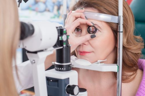 Patient getting an eye exam