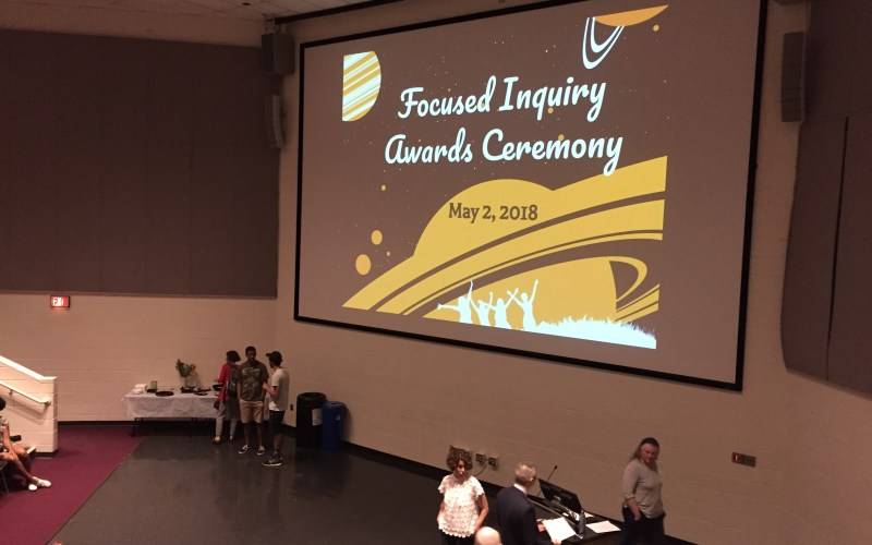 Photo of Focused Inquiry Contests Awards Ceremony, Student Commons, May 5, 2018.