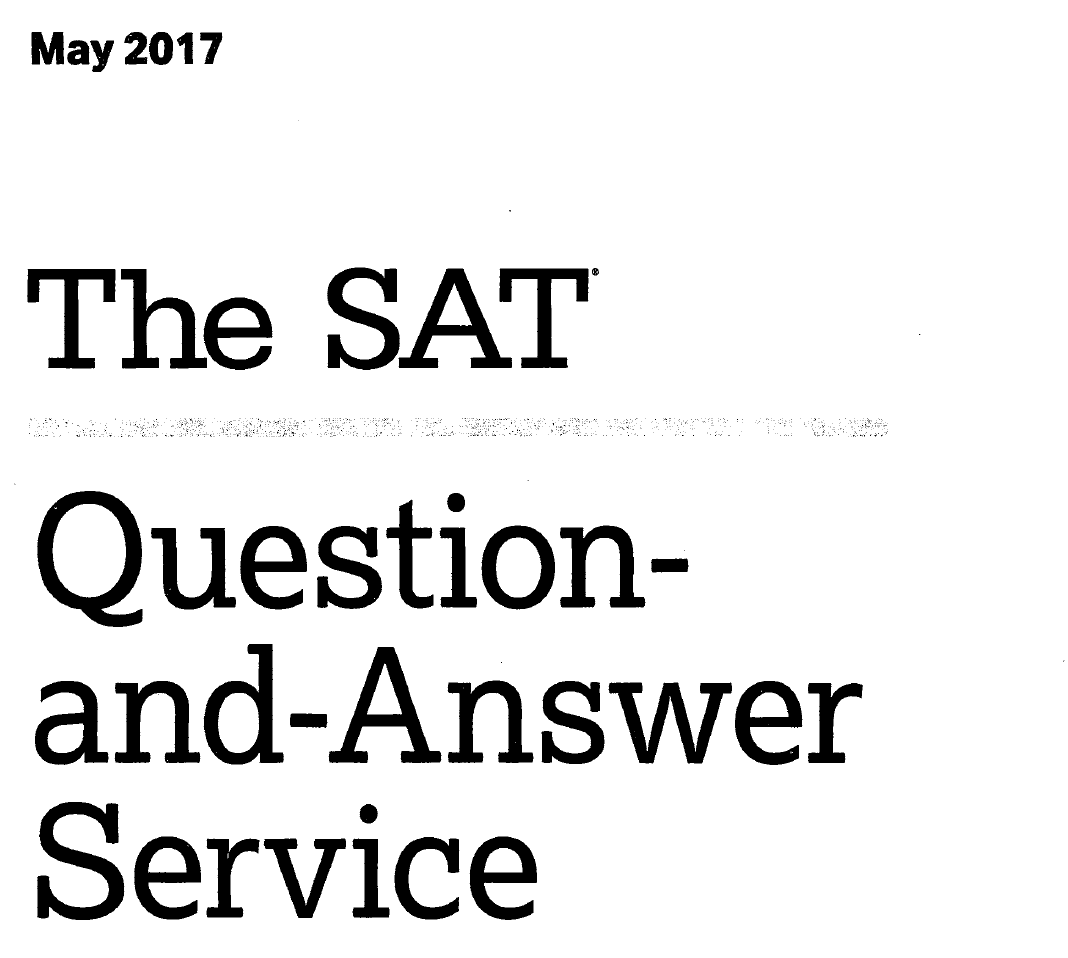 May 2017 SAT test