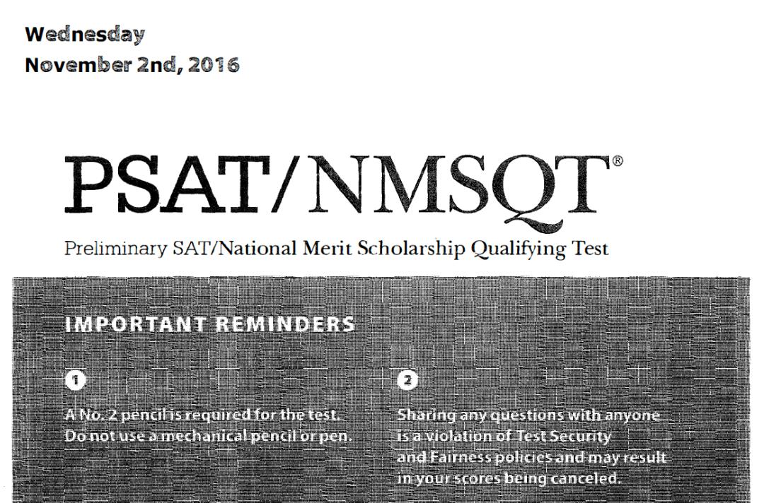 November 2016 PSAT Tests - 11-2-2016