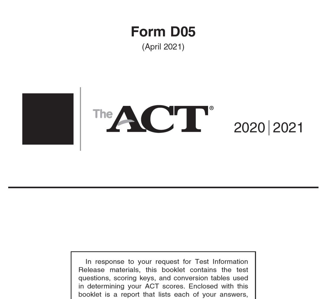 April 2021 ACT Test Form D05 - Full Test Version