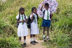Scool children waving at the train in Sri Lanka.