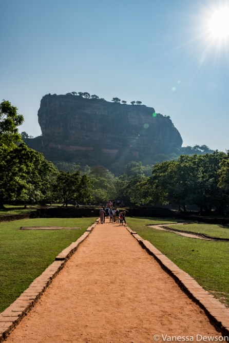 In the ancient city of Sigiriya, walking towards the rock.