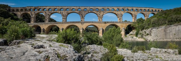 A panorama of Pont du Gard. Photo by: Vanessa Dewson
