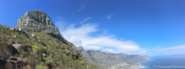 Lion's Head with the Cable Car Station on Table Mountain and the 12 Apostles in the background.