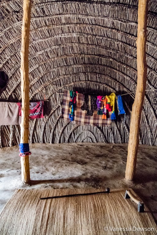 Sleeping area inside a traditional hut